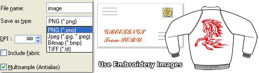 Export embroidery image
