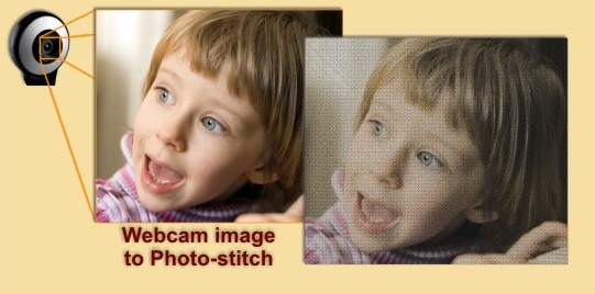 Create embroidery designs by capturing images from the webcam