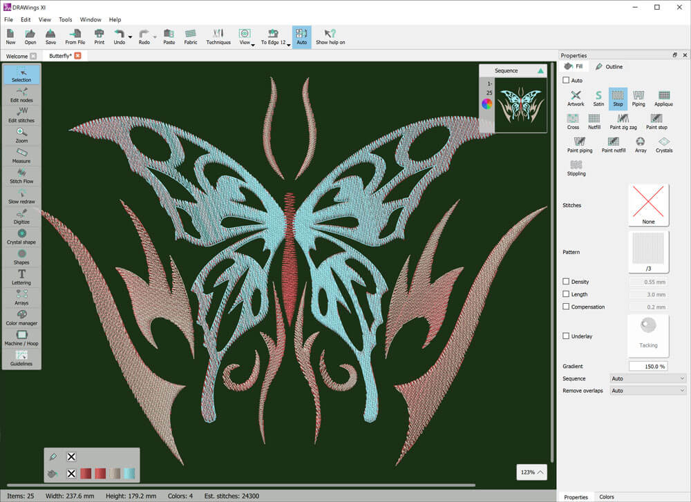 Create designs with blended thread colors (gradient fill)